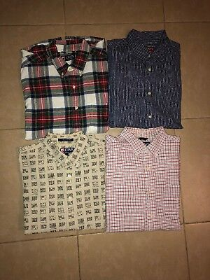 Lot of 4 Chaps Men's Casual Button Down Shirts Long Sleeve in size L