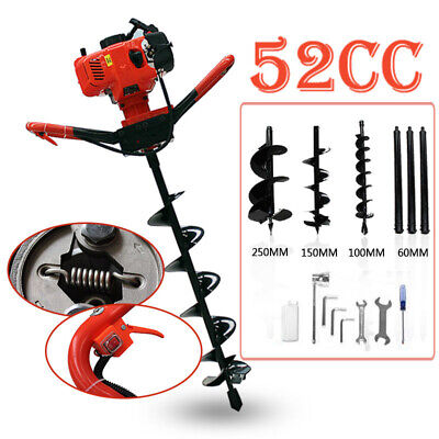 Auger 52CC Post Hole Digger Gas Powered auger Borer Fence Ground Drill 3 Bits