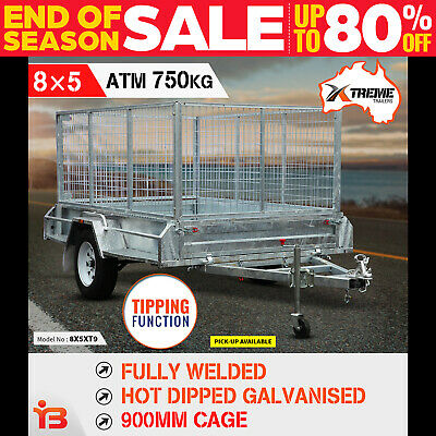 New 8x5 900MM Cage Fully Welded Galvanised Tipper Box Trailer with ATM 750KG