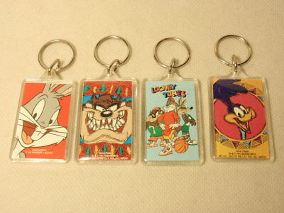 Lot of 4 Warner Brothers Plastic Keychains: Bugs Bunny, Taz, Roadrunner