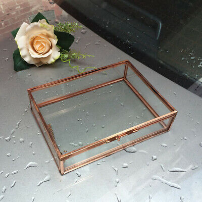 Glass Metal Cuboid Geometric Table Succulent Plants Box Mini 10 x 7 x 6cm