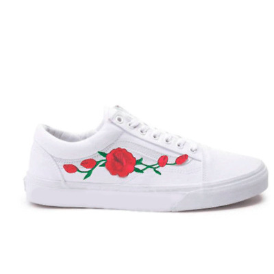 c117c559ee New White Vans Old Skool Skateboarding Red Rose   Pink Rose Embroidery Patch