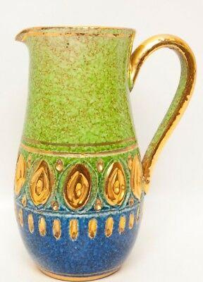 Vintage Italy Ceramic Pitcher Green Blue Raised 22 kt Gold Hand Painted Enesco
