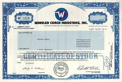 Wheeled Coach Industries Incorporated of Florida - 1983 Stock Certificate