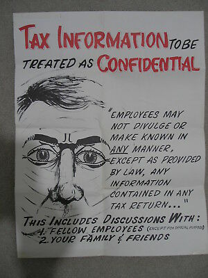 """TAX INFORMATION Poster 1960s IRS REVENUE SERVICE FEDERAL GOV RECORDS 17"""" x 22"""""""