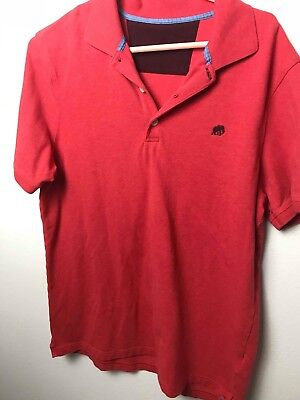 Mens Banana Republic Large  Pink  Short Sleeve Polo Shirt orange red