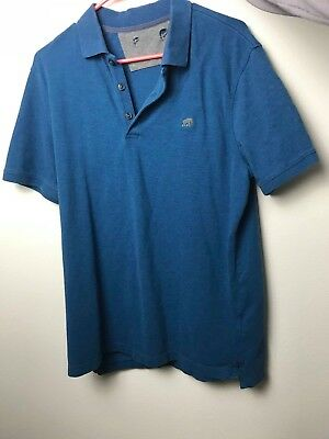 Mens Banana Republic Large Blue Short Sleeve Polo Shirt dark