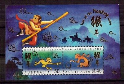 M0009sbs Christmas Island Year of Monkey MUH Mini Sheet Stamps