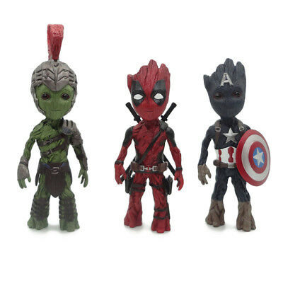 Baby Groot Cosplay Cptain/Hulk/Deadpool Resin Action Statue New No box 18-21cm