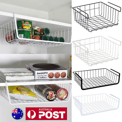 Iron Storage Bin Under Shelf Wire Rack Cabinet Basket Kitchen Organizer Cupboard