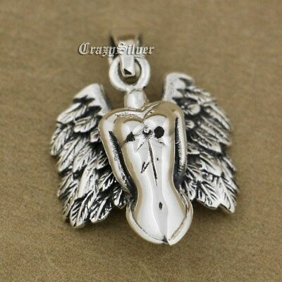 12 Antique Silver Colour 24 x 16mm Naked Goddess Angel Wings Fairy Pagan Charms
