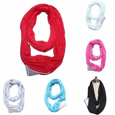 Unisex Women Warm Scarf Infinity Cotton Travel Scarves With Zipper Pocket Gifts