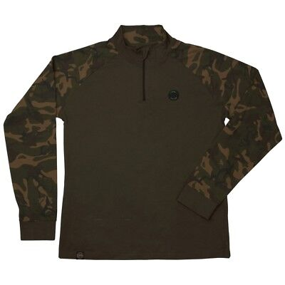 Fox Chunk Camo / Khaki Edition LONG Sleeve T-Shirt Zip Logo  M L XL XXL XXXL NEU