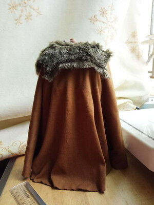 """1:6 Ancient soldier Roman general Russell cloak Cape W Fur collar For 12"""" Figure"""