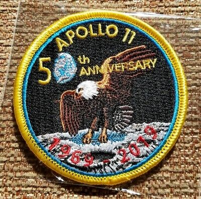 NASA APOLLO 11 50th ANNIVERSARY 1969-2019 EMBROIDERED PATCH - RED DATES