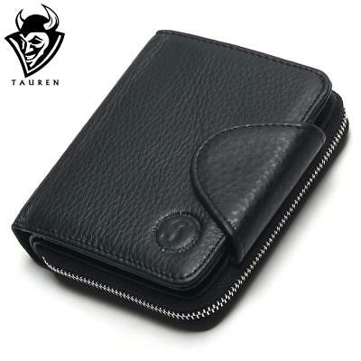 2018 100% Genuine Leather Cowhide Men Black Coin Purse Card Holder Male Wallets