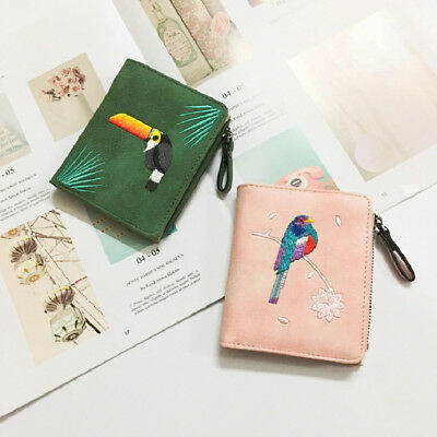 Fashion Embroidery Short Women Wallets PU Leather Money Bag Wallet Birds Design