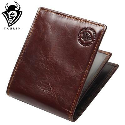RFID BLOCKING Genuine Leather Mens Wallets Male Bifold Purse Small Dollar Wallet