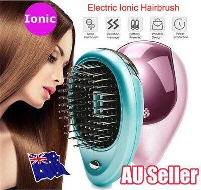Portable Electric Ionic Hairbrush Takeout Mini Ion Hair Brush Comb Massage ON
