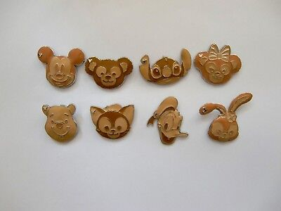 Disney Pin - HKDL - Hidden Mickey Game Pin Waffle Series (Complete Set- 8 pins)