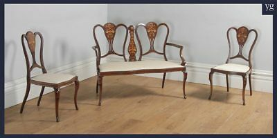 Antique Victorian Three Piece Mahogany & Satinwood Salon Suite Sofa Couch Chairs
