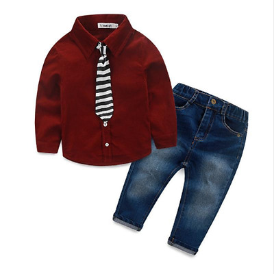 New Baby Boy Set Clothes Denim Suit Long Sleeve Dress Shirts+Trousers Jeans+Tie
