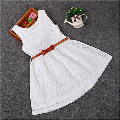 New Dresses Children Baby Kids Girls Clothes Lace Hollow Out Sleeveless Cool