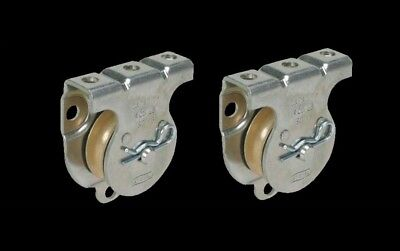"""ROPE PULLEYS (2) Wall or Ceiling Mount 1-1/2"""" Top Fastened or Sheave Side NEW!"""
