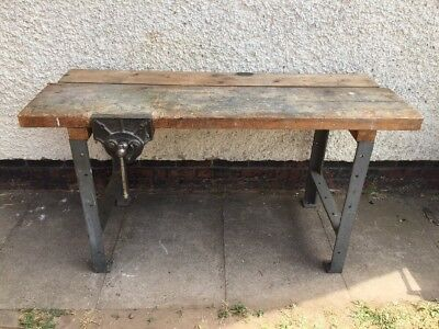 Remarkable Vintage Work Bench Table With Cast Iron Legs Record 52 1 2 Lamtechconsult Wood Chair Design Ideas Lamtechconsultcom