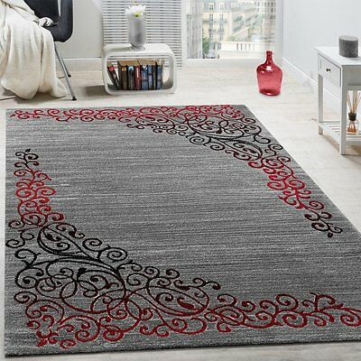 Modern Silver Grey Rug with Red Black Glitter Floral Pattern Soft Room Carpet