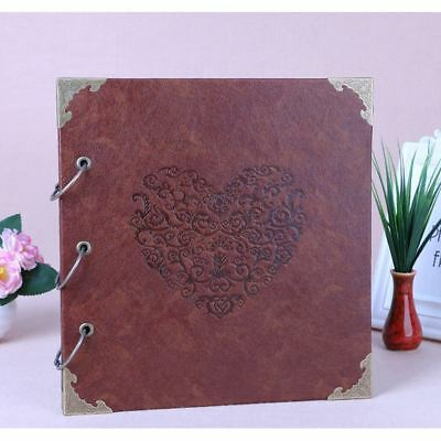 DIY PU Leather Vintage Heart Kraft Paper Photo Album Wedding Baby Scrapbook AU