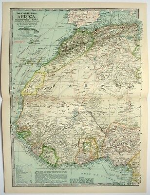 Original 1897 Map of Northwestern Africa by The Century Company. Antique Map