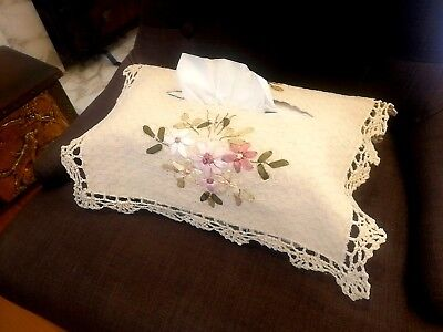 Cotton Hand Embroidery Ribbon Flower Crochet Lace Tissue Box Cover CR14