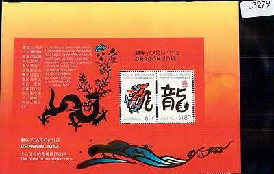 L3279sbs Christmas Island 2012 Year of the Dragon Large Mini Sheet MUH