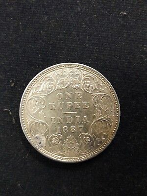 India one ruppes coins victoria 1887 rare