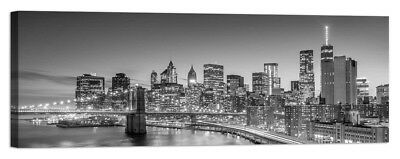 Stampa su Tela Vernice Effetto Pennellate panorama new york brooklyn