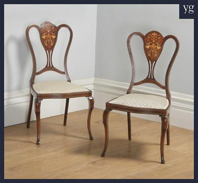 Antique Victorian Pair Two Mahogany Satinwood Marquetry Inlaid Salon Side Chairs