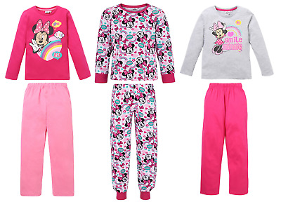 Girls Kids Official Licensed Disney Minnie Mouse Long Sleeve Pyjamas PJs