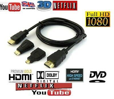 1.5m HDMI to HDMI / Mini Hdmi / Micro HDMI Adapter HD Cable Kit for PC TV Tablet