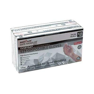 Disposable Food Handling Long Cuff Poly Gloves - One Size, 525 per box (2 boxes)