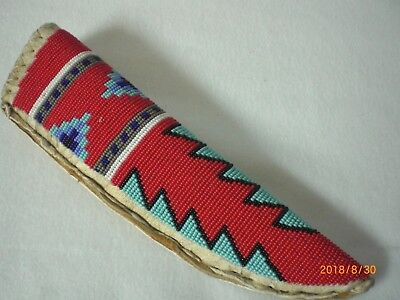 Knife Sheath, Fully Beaded, Belt Style, Medium/Large