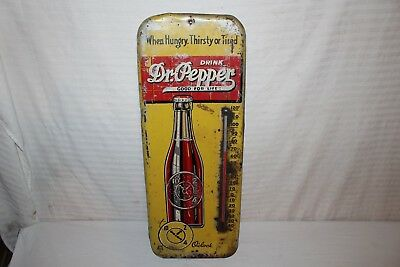 "Large Vintage 1940's Dr Pepper Soda Pop Bottle 26"" Metal Thermometer Sign"