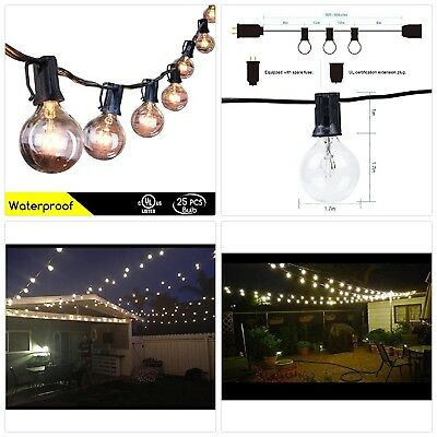 50Ft Outdoor Patio String Lights with 50 Clear Globe G40 Bulbs,UL Certified for