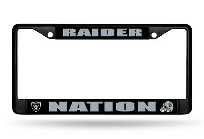 Oakland Raiders NATION Metal BLACK License Plate Frame Auto Truck Car NWT NFL