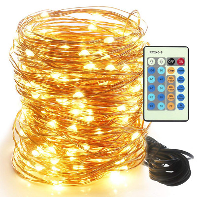 LED Flexible Copper Wire String Light 66ft 200LED Dimmable Waterproof Warm White