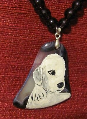 Bedlington Terrier hand painted on bell shaped gemstone pendant/Th bead/necklace