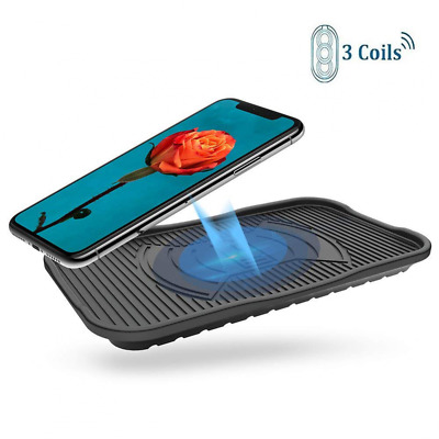 Silicone Wireless Charger Diglot 3-Coil IP67 Waterproof Standard QI Charging Pad
