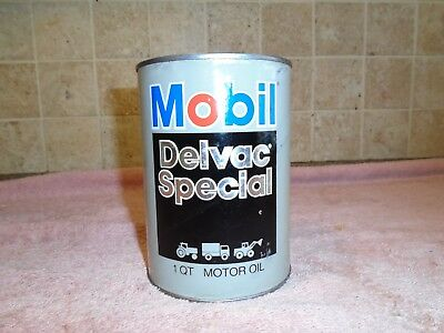 Vintage Mobil Delvac Special 10-W30 Motor Oil Quart Oil Can Full ~ Nice Graphics