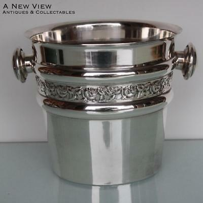 Art Deco silver plated champagne wine bottle cooler.