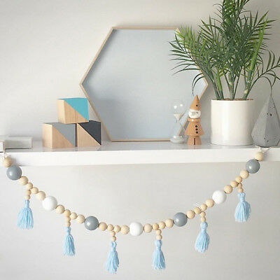 Nordic Style Wooden Beads Tassels Hanging Decorative Children's Room Decor 8C